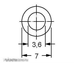 Távtartó Gyűrű Műanyag fekete D:7mm, hossz:3mm