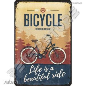Retró Fém Tábla - Bicycle - Bicikli - Kerékpár Dombornyomott