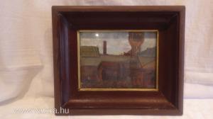 Jelzett Olaj-karton , tájkép festmény vastag fa képkeret