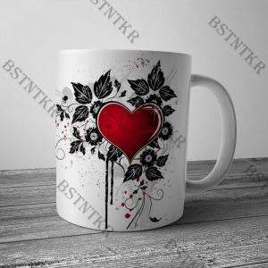 Szív virág mintás bögre Valentin napra Valentin nap