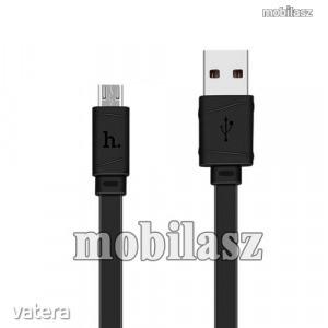 HOCO X5 2.4A adatátvitel adatkábel, USB töltő, USB / microUSB, 1m, lapos kábel kivitelű, Fekete