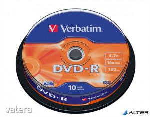 DVD-R lemez, AZO, 4,7GB, 16x, 10 db, hengeren, VERBATIM