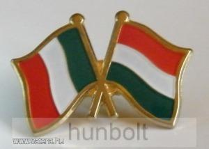 Kitűző, páros zászló Olasz -Magyar jelvény 26x15 mm