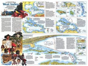 Eredeti térképmelléklet - National Geographic Magazine 1987. The making of America West Indies