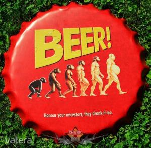 BEER ! - Bottle Cap Tin Sign . 14.cm. kerek fém tábla kép