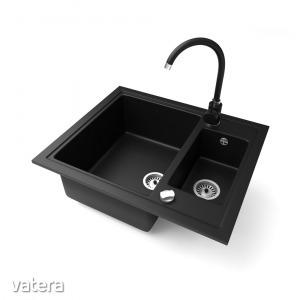 Gránit mosogató NERO Arriva + magasított csaptelep + dugókiemelő (fekete)