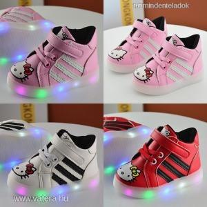 baba,gyerek,lány,világító talpú led cipő,sport,adidas stílus,hello kitty