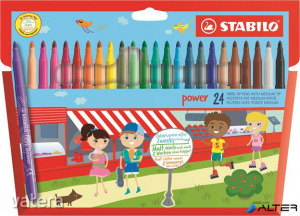 """Filctoll készlet, 2 mm, STABILO """"Power"""", 24 különböző szín"""