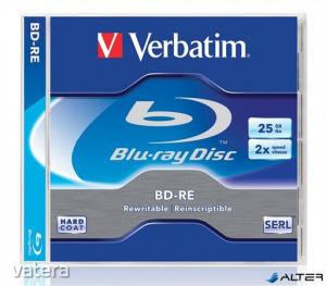 BD-RE BluRay lemez, újraírható, 25GB, 1-2x, normál tok, VERBATIM