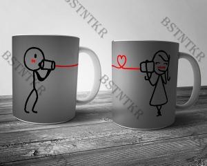 Kapcsolat páros mintás bögre Valentin napra Valentin nap