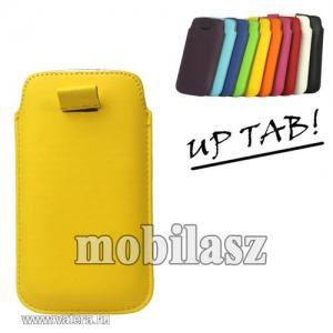 Up tab! pu bőrtok - álló, kihúzó pánt - sárga
