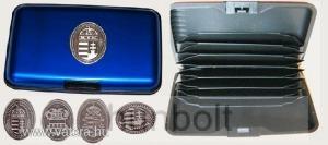 Bankkártya tartó metál kék színű ón koszorús címer matricával