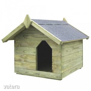 Impregnált fenyőfa kerti kutyaház felnyitható tetővel