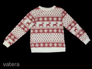 Férfi S-es fehér-barna rénszarvas mintás vékony pulóver