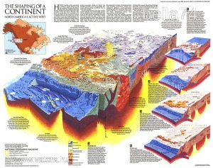 Eredeti térképmelléklet - National Geographic Magazine 1985. The shaping of a continent North Americ