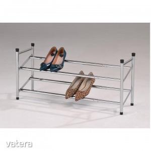 2-soros állítható cipőpolc, krómozott/fekete, TEA (2-soros)