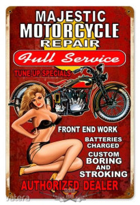 Majestic Motorcycle Repair - Vintage Metal Sign. 20X30.cm. fém tábla kép