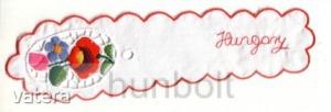 Kalocsai hímzett, riselt cakkos könyvjelző (hasonló hímzéssel)