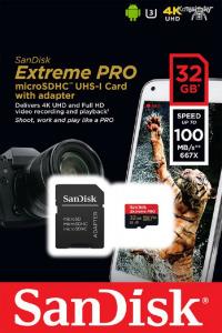 Sandisk 32GB microSDHC Extreme Pro UHS-I V30 A1 + adapterrel 173427