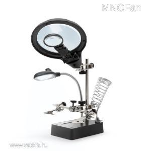 Csipeszes LED panelbefogó paneltartó + pákatartó + dupla nagyító + 2db krokodilcsipesz harmadik kéz