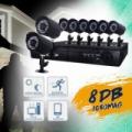 8 kamerás megfigyelő rendszer, megfigyelő központtal és kamerákkal