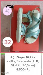Superfit kék csillogós szandál, ÚJ! 32 Bth.: 20,5 cm