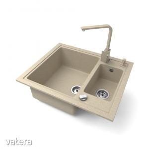 Gránit mosogató NERO Arriva + Design csaptelep + adagoló + dugókiemelő (bézs)