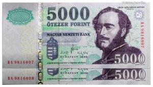 5000 Forint Bankjegy 2008 BA széria sorszámkövető pár