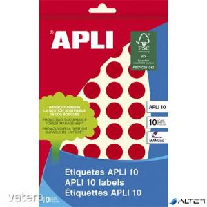 Etikett, 16 mm kör, kézzel írható, színes, APLI, piros, 432 etikett/csomag