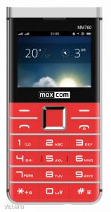 Maxcom MM760 dual sim-es kártyafüggetlen mobiltelefon bluetooth-os, fm rádiós piros (magyar nyelv...