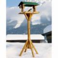 Időjárásálló madáretető 116 cm magas állvánnyal, etetőház fából
