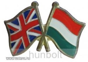 Kitűző, páros zászló Angol -Magyar jelvény 26x15 mm