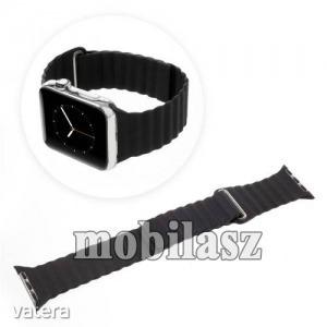 Okosóra mágneses loop szíj - FEKETE - PU bőr - 185mm + 52mm hosszú - APPLE Watch Series 3/2/1 42m...