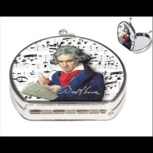 FRI.12374 Zsebtükör nagyító 7x7,5x2,5 cm, textilbevonatú, Beethoven