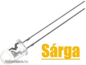 10db LED - Sárga, 5mm, 5800 mcd, 15°