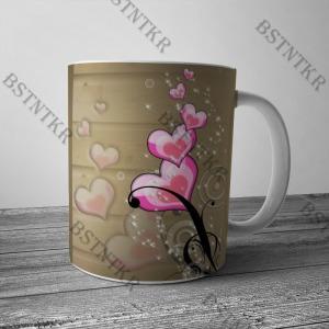 Rózsaszín szives mintás bögre Valentin napra Valentin nap