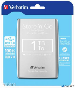 2,5' HDD (merevlemez), 1TB, USB 3.0, VERBATIM, ezüst