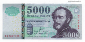 5000 Forint Bankjegy 2008 BB széria XF