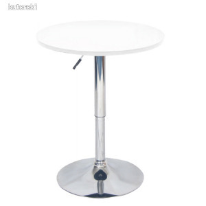 Bárasztal, magasság állítással, króm/fehér, BRANY New