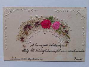 Képeslap, levelezőlap - virágok dombornyomott motívum 1901.