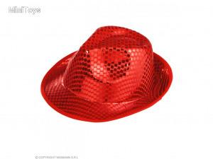 Piros színű csillogó női kalap 1 db
