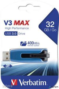 "Pendrive, 32GB, USB 3.0, 175/80 MB/sec, VERBATIM ""V3 MAX"", kék-fekete"