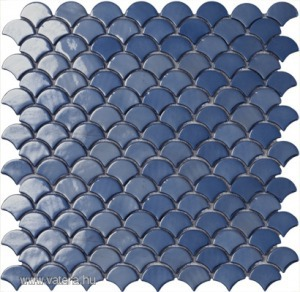 SPANYOL üvegmozaik farfalla - legyező - pikkely forma sötétkék