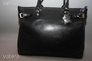 Valódi bőr,fekete,csodás,elegáns,masszív,pakolós kézitáska,irattáska,táska-női