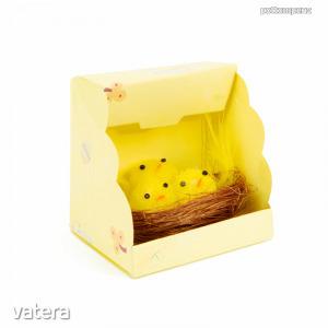 Húsvéti dekoráció - csibék fészekben - 1 db / csomag