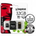 32GB KINGSTON microSDHC+SD ADAPTER+USB OLVASÓ CLASS 10