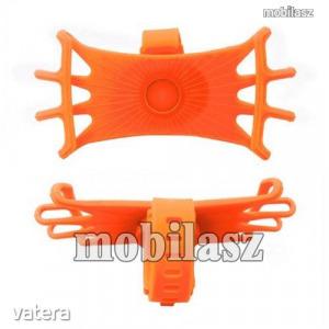 UNIVERZÁLIS biciklis / kerékpáros tartó konzol mobiltelefon készülékekhez - NARANCSSÁRGA - 360°-b...
