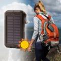 Solar Powerbank + zseblámpa/hordozható napelemes töltő dupla LED lámpa