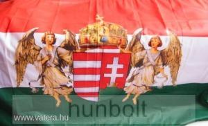 Nemzeti színű új címeres barna angyalos zászló 75x120 cm. A Horthy időszak hivatalos zászlója 191...