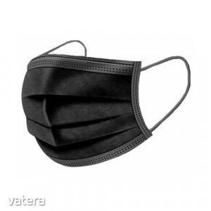 3 rétegű orvosi maszk szájmaszk arcmaszk - gumis, fekete színű
